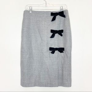 J Crew Gray Wool Black Velvet Bow Pencil Skirt 6